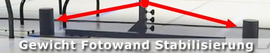 Gewicht Fotowand Stabilisierung, die Fotowand im Einsatz. Video abspielen